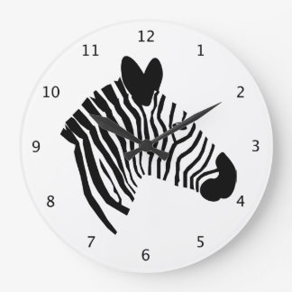 Zebra head black and white stripes beautiful art wall clocks