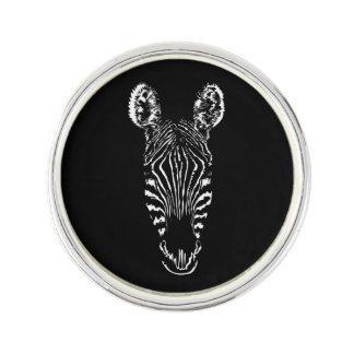 Zebra Head Black Lapel Pin
