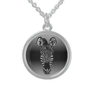 Zebra Head Black Sterling Silver Necklace