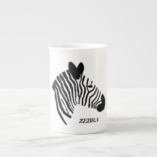 Zebra head illustration black white bone china mug
