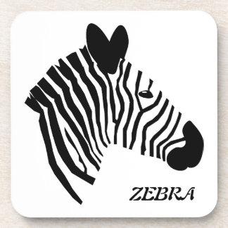 Zebra head illustration black & white coaster