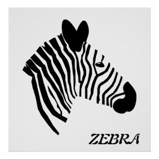 Zebra head illustration black & white poster print