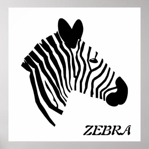 Zebra head illustration black & white poster print