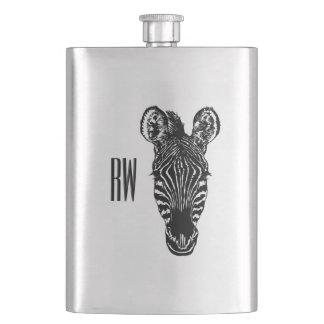 Zebra Head Monogram Hip Flask