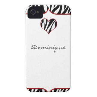 Zebra Heart iPhone 4 Cover