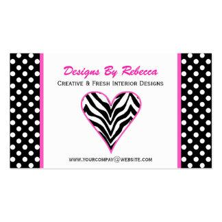 Zebra Heart & Polka Dots Business Card