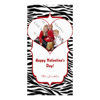Zebra Heart Valentine Photo Card