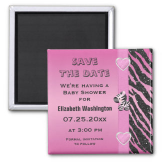 Zebra & Hearts Baby Shower Save the Date Magnet