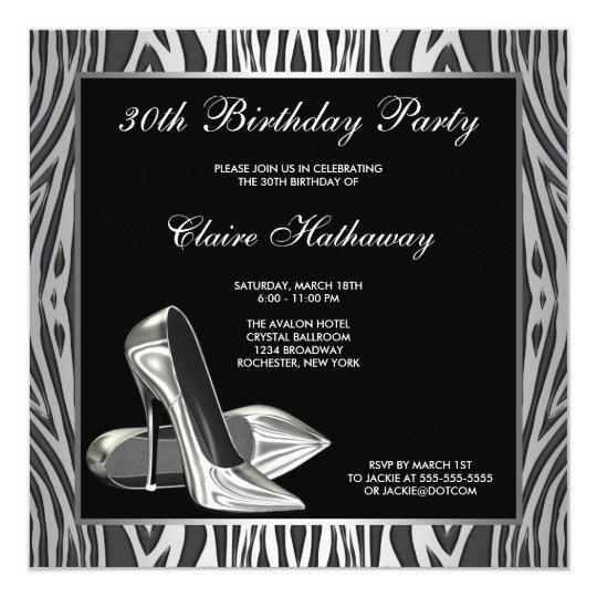 Zebra High Heel Womans 30th Birthday Party Card