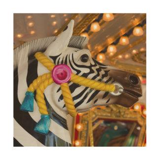 Zebra Horse Merry-Go-Round Carousel Ride Wood Print