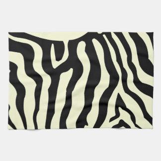 Zebra horse skin stripes, black & light yellow tea towel