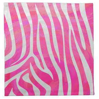 Zebra Hot Pink and White Print Cloth Napkin