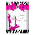 Zebra Hot Pink High Heel Shoe Black Birthday Party Announcements