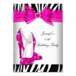 Zebra Hot Pink High Heel Shoe Black Birthday Party 11 Cm X 16 Cm Invitation Card