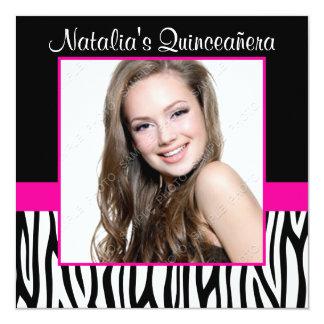 "Zebra Hot Pink Photo Quinceanera Invitations 5.25"" Square Invitation Card"