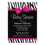Zebra Hot Pink Printed Bow Baby Shower Invitation