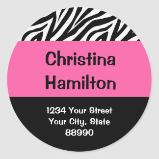 Zebra & Hot Pink return address (#LABL 008) Classic Round Sticker
