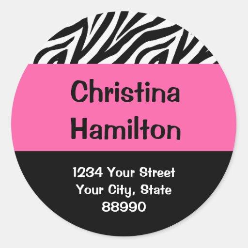 Zebra & Hot Pink return address (#LABL 008) Round Stickers