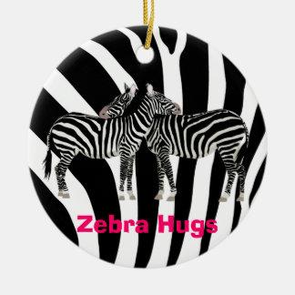 Zebra Hugs Ceramic Ornament