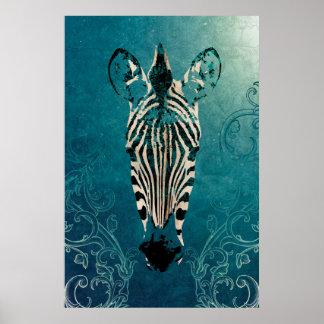 Zebra Illustration Poster