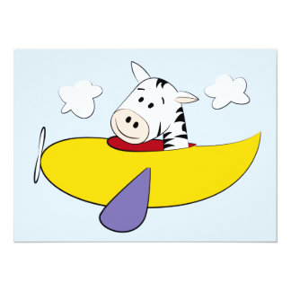 Zebra in Colorful Airplane Kids 14 Cm X 19 Cm Invitation Card