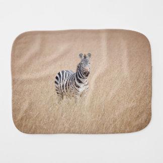 Zebra in high grass burp cloth