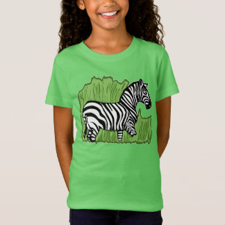 Zebra in the Grass Girls' Fine Jersey T-Shirt
