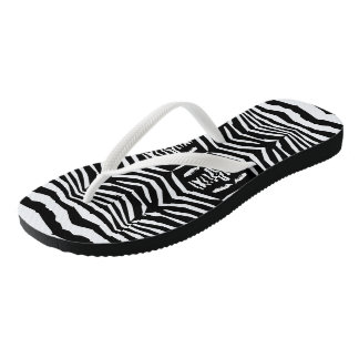 Zebra Inspired Black-White Flip Flops