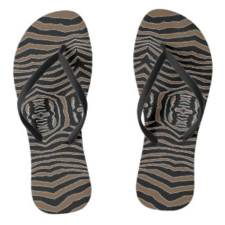 Zebra Inspired Brown-Black Flip Flops