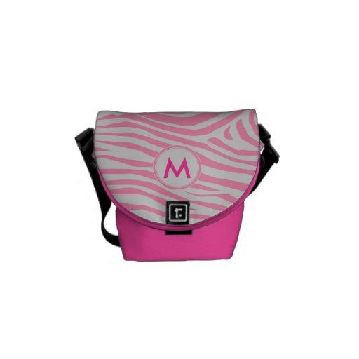 Zebra Inspired Monogrammed Pattern Courier Bag