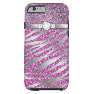 Zebra iPhone 6 Tough Jewelry Glitter Pink Tough iPhone 6 Case