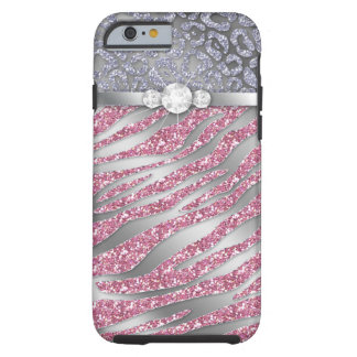 Zebra iPhone 6 Tough Jewelry Glitter PS Tough iPhone 6 Case