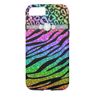 Zebra iPhone 7 Tough Rainbow Glitter B iPhone 7 Case
