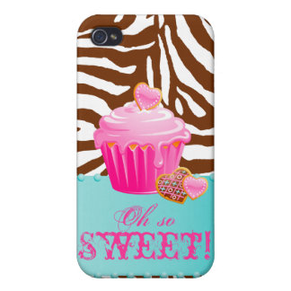 Zebra iPhone Cupcake Pink Chocolate Brown Case For iPhone 4