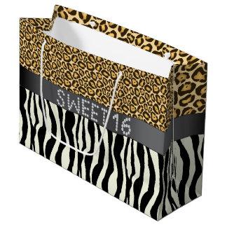 Zebra/Jaguar Print Diamond Sweet 16 Gift Bag L