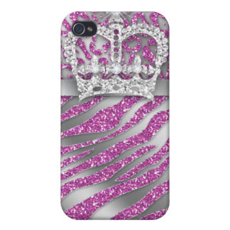 Zebra Jewelry iPhone 4 Cover pink crown sparkle