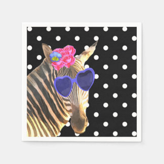Zebra jungle animal black and white polka dot paper serviettes
