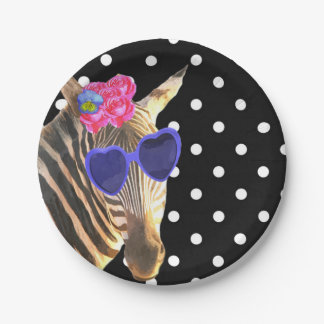 Zebra jungle animal black polka dot 7 inch paper plate