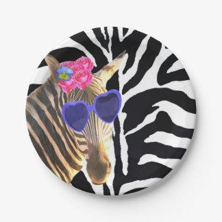 Zebra jungle animal fashion modern girl 7 inch paper plate