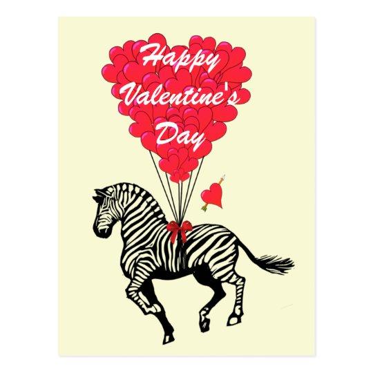 Zebra  kids Valentines Postcard