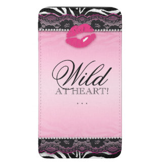 Zebra Lace Makeup Lips Wild at Heart iPhone Pouch