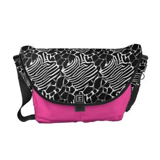 Zebra Leopard Black White Animal Collage Messenger Bags