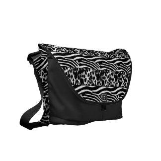 Zebra Leopard Black White  Messenger Bag