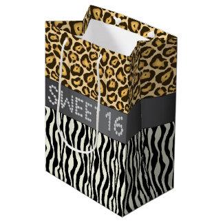 Zebra/Leopard Diamond Sweet 16 Gift Bag