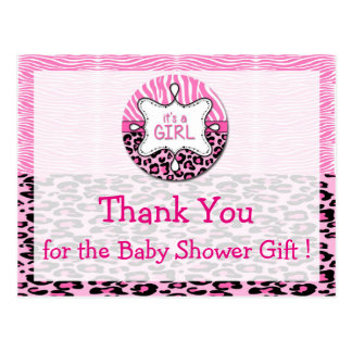 Zebra,Leopard Girl Baby Shower Thank You Postcards