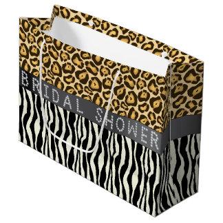 Zebra/Leopard Print Diamond Bridal Shower LG Large Gift Bag