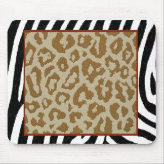 zebra leopard print red mouse pad