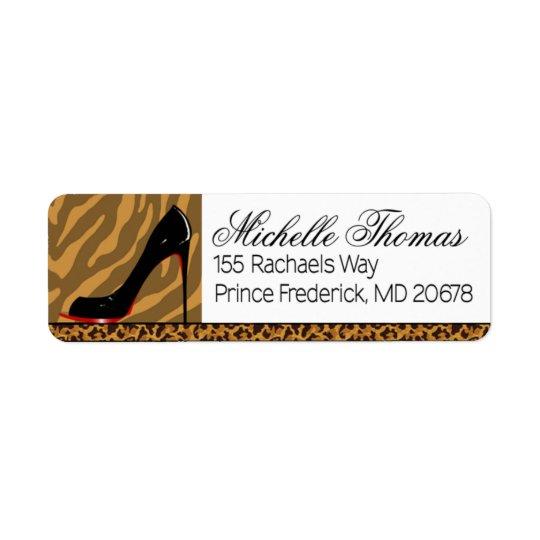 Zebra Leopard Stiletto Party Return Address Label