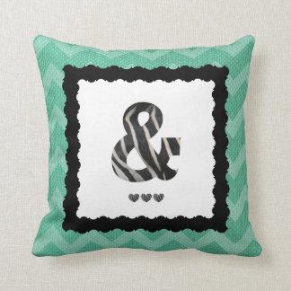 Zebra Letter &,  B&W on Aqua/White Chevron Cushion