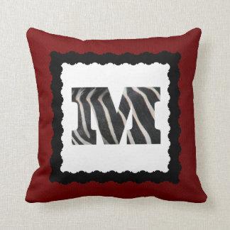 Zebra Letter M, B&W on Crimson Red/White Chevron Throw Pillow